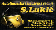 CAR-BODY MECHANIC AND SPRAYER WORKSHOP S.LUKIC Car paintwork Belgrade
