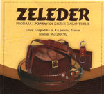 ZELEDER LEATHER PRODUCTS - PRODUCTION AND REPAIR OF LEATHER Leather, leather products Belgrade