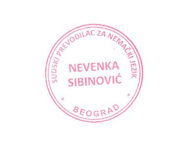 Sudski Tumačprevodilac Za Nemački Jezik Nevenka Sibinović