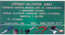 LOCKSMITHING AND SHARPENER SHOP TIA Trade services Belgrade
