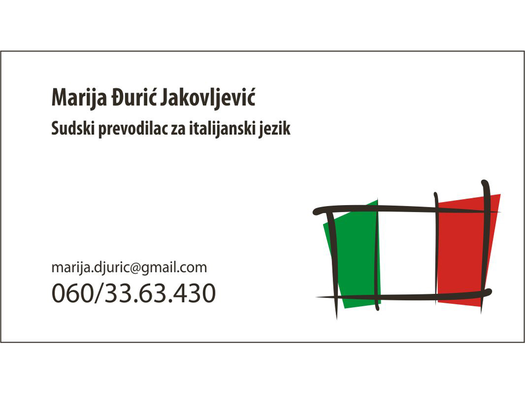 COURT INTERPRETER FOR ITALIAN AND ENGLISH LANGUAGE MARIJA DJURIC JAKOVLJEVIC Translators, translation services Beograd